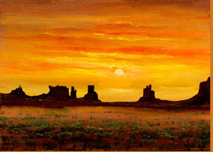 Connie Tom Greeting Card featuring the painting Sunset Over Monument Valley by Connie Tom
