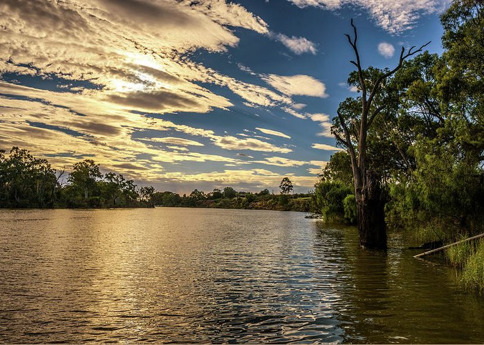 Australia Greeting Card featuring the photograph Sunset Over Murray River In Mildura, Australia by Miroslav Liska