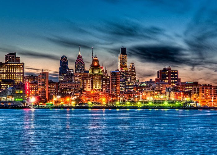 Photography Greeting Card featuring the photograph Sunset Over Philadelphia by Louis Dallara