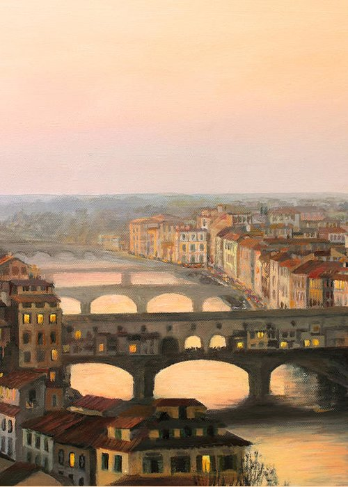 Ancient Greeting Card featuring the painting Sunset Over Ponte Vecchio In Florence by Kiril Stanchev