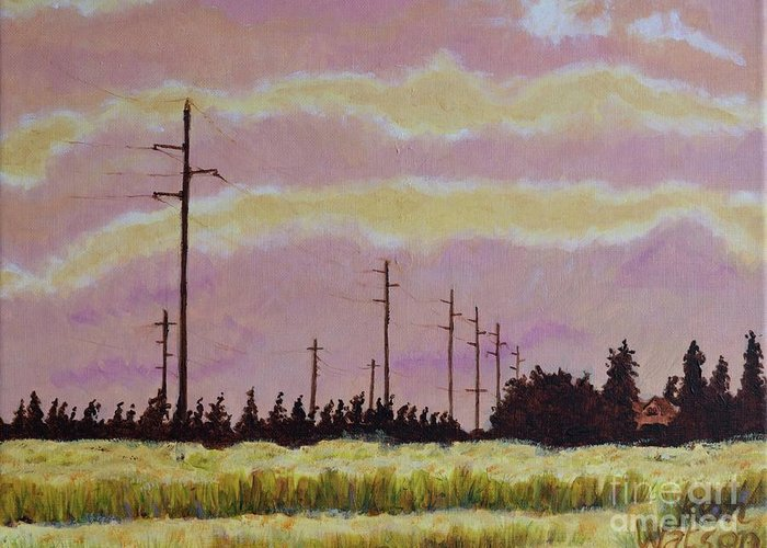 Sunset Greeting Card featuring the painting Sunset Over Powerlines by Ken Watson