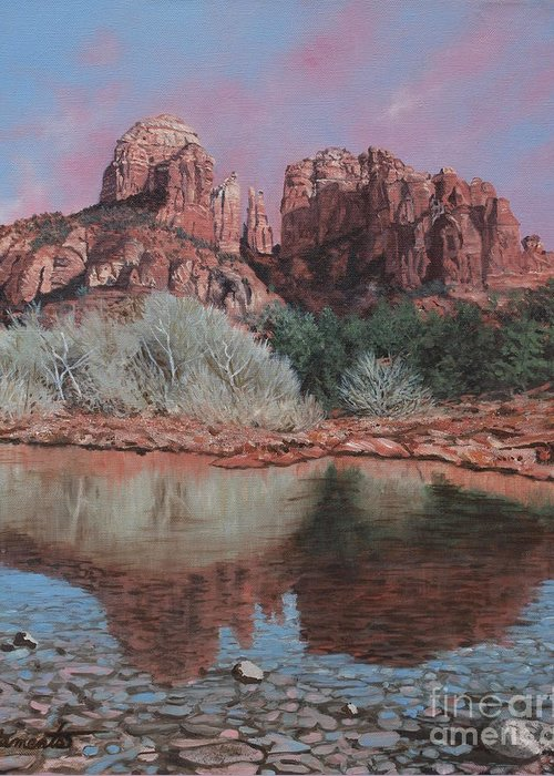 Red Rocks Of Sedona Greeting Card featuring the painting Sunset Over Red Rocks Of Sedona by Barbara Barber
