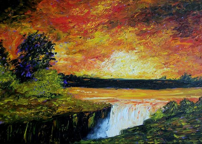 Sunset Greeting Card featuring the painting Sunset Over The Lake by Tami Booher