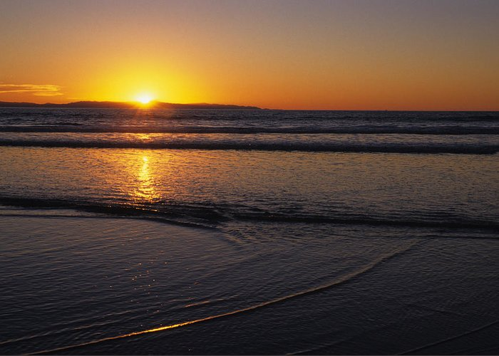 Ventura Greeting Card featuring the photograph Sunset Over The Pacific Ocean by Stacy Gold