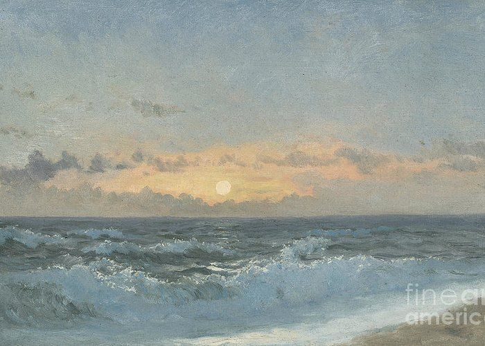 Seascape Greeting Card featuring the painting Sunset Over The Sea by William Pye