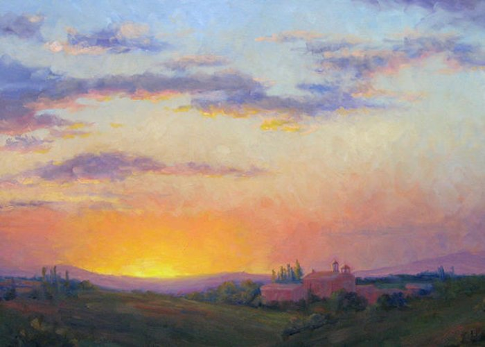 Sunset Greeting Card featuring the painting Sunset Over Tuscany by Bunny Oliver