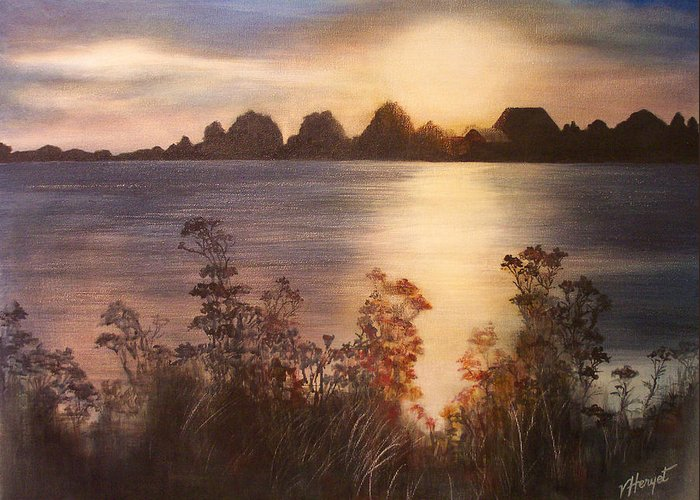 Sunset Greeting Card featuring the painting Sunset Over Westham Island by Victoria Heryet