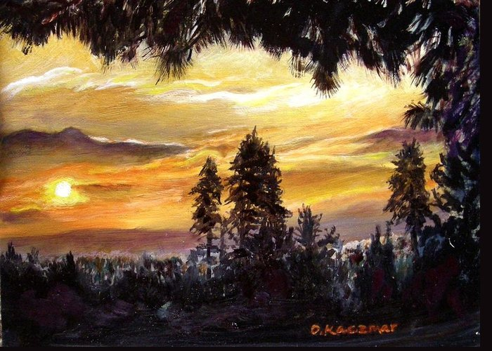 Landscape Greeting Card featuring the painting Sunset Over Wrightwood by Olga Kaczmar