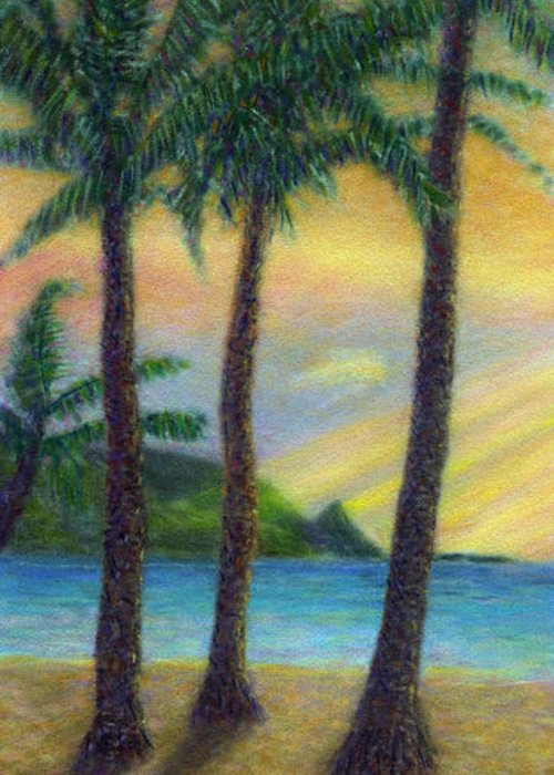 Rainbow Colors Pastel Greeting Card featuring the painting Sunset Palms by Kenneth Grzesik