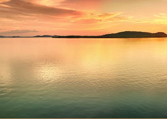 Pier Greeting Card featuring the photograph Sunset Panorama by MotHaiBaPhoto Prints