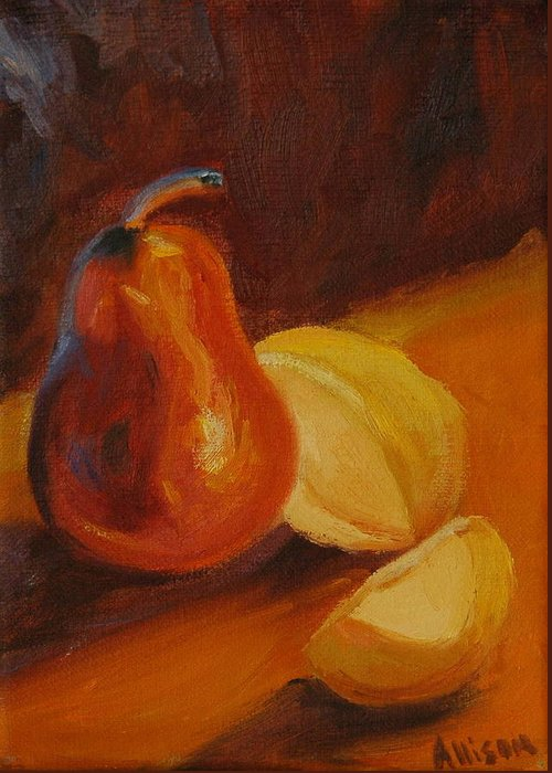 Still Life Greeting Card featuring the painting Sunset Pears by Stephanie Allison
