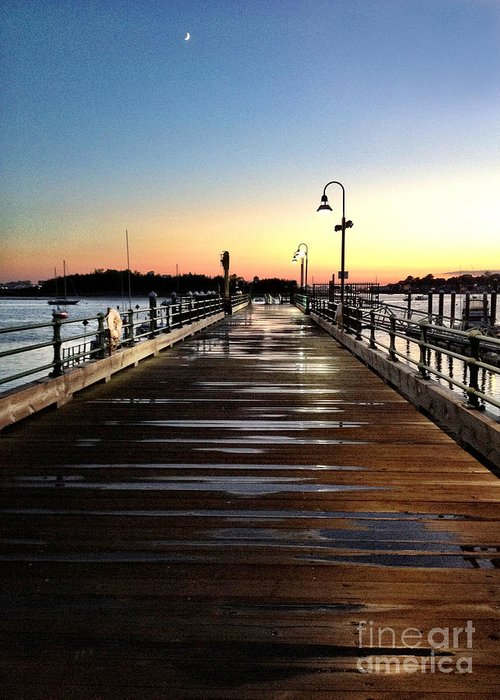 Sunset Greeting Card featuring the photograph Sunset Pier by Extrospection Art
