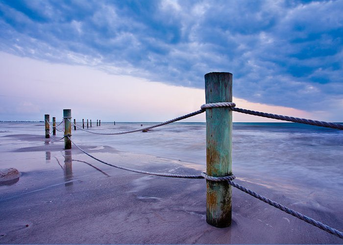 Pilings Greeting Card featuring the photograph Sunset Reef Pilings by Adam Pender