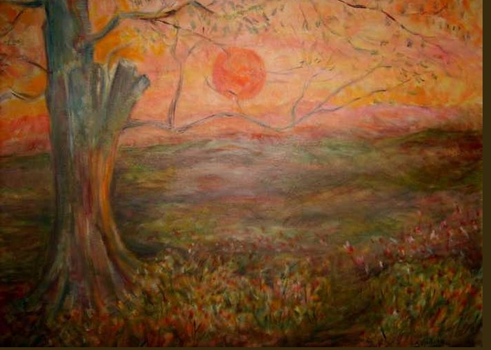 Sun Tree Sky Sundown Landscape Greeting Card featuring the painting Sunset Rev. by Joseph Sandora Jr