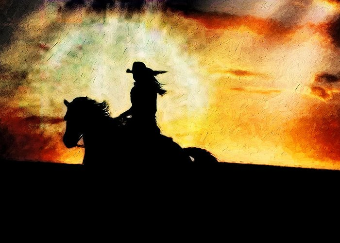Horse Greeting Card featuring the photograph Sunset Rider by Nick Sokoloff