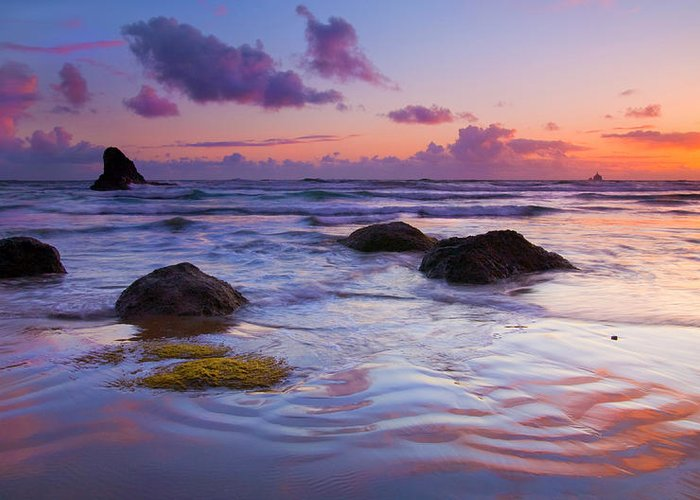 Sunset Greeting Card featuring the photograph Sunset Ripples by Mike Dawson