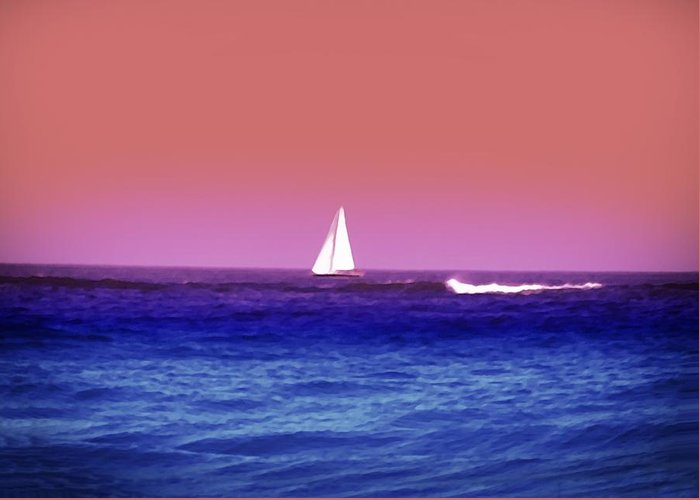 Sunset Greeting Card featuring the photograph Sunset Sailboat by Bill Cannon