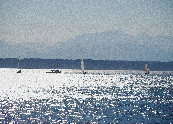 Boats Greeting Card featuring the photograph Sunset Sailboats by Carol Eliassen