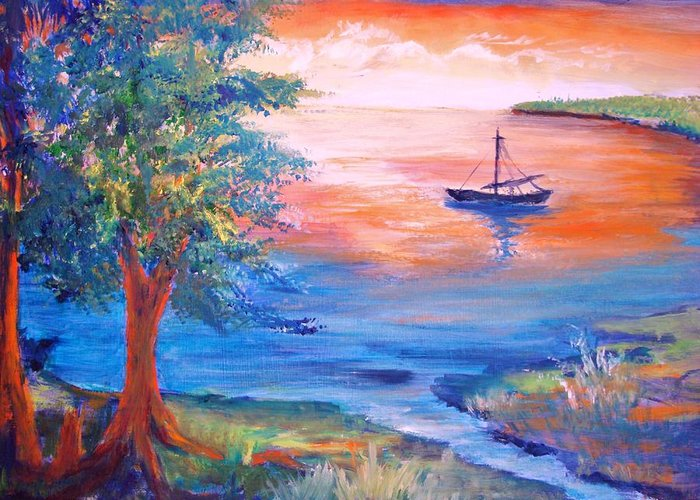 Boat Greeting Card featuring the painting Sunset Sailing by Anne Dentler