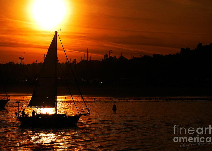 Clay Greeting Card featuring the photograph Sunset Sailing by Clayton Bruster