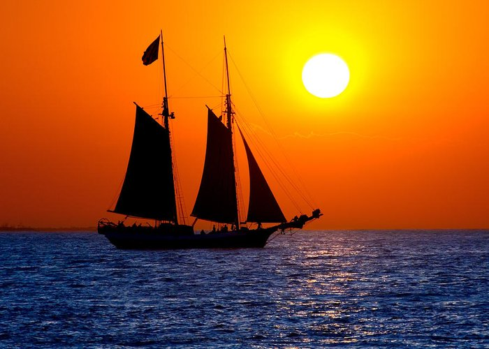 Yellow Greeting Card featuring the photograph Sunset Sailing In Key West Florida by Michael Bessler