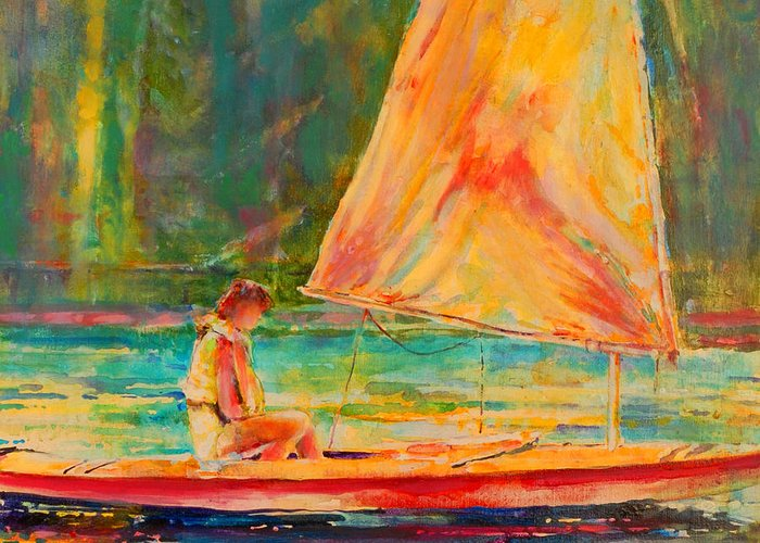 Sunfish Greeting Card featuring the painting Sunset Sailor 2 by Kip Decker
