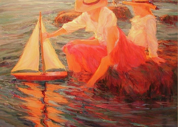 Sailing Greeting Card featuring the painting Sunset Sails by Diane Leonard