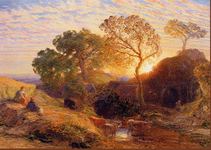 Sunset Greeting Card featuring the painting Sunset by Samuel Palmer