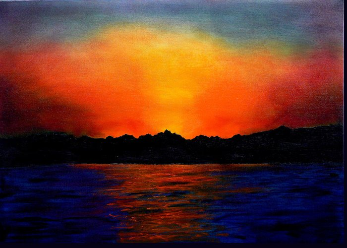 Sinai Sunset Greeting Card featuring the painting Sunset Sinai by Helmut Rottler