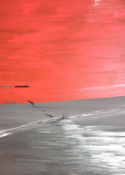 Red Greeting Card featuring the painting Sunset by Solenn Carriou