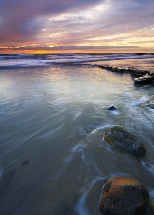 Seascape Greeting Card featuring the photograph Sunset Storm by Mike Dawson