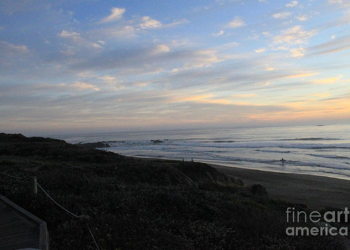 Surf Greeting Card featuring the photograph Sunset Surf by Linda Woods