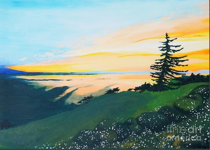Landscape Greeting Card featuring the painting Sunset by Tiina Rauk