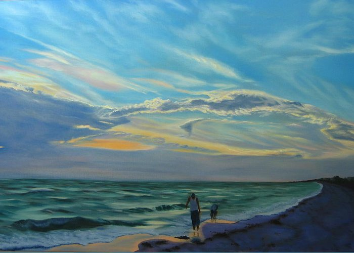 Seascape Greeting Card featuring the painting Sunset Treasure Hunt by Lea Novak