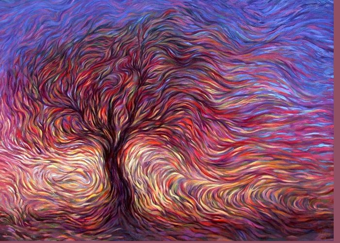 Tree Greeting Card featuring the painting Sunset Tree by Hans Droog