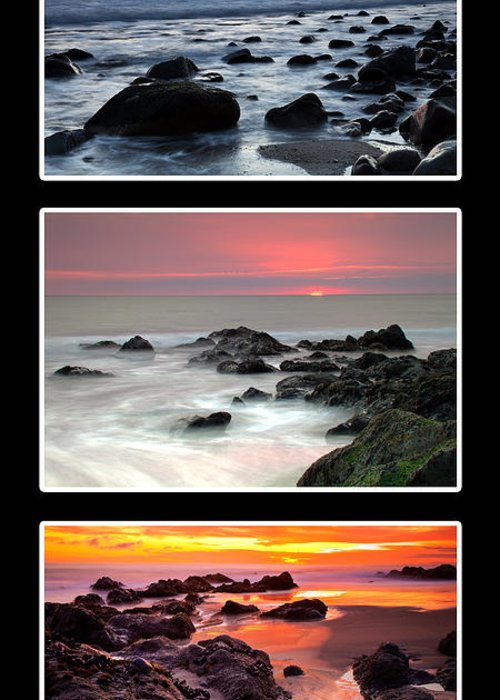 Beaches Greeting Card featuring the photograph Sunset Triptych by Greg Clure