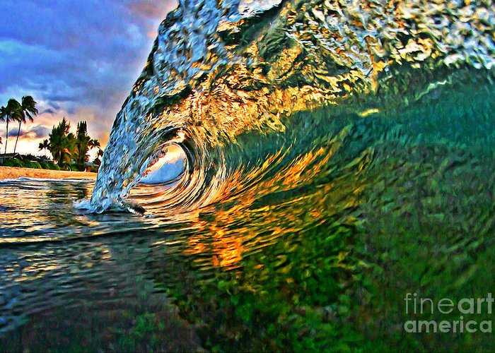Ocean Greeting Card featuring the painting Sunset Tube by Paul Topp