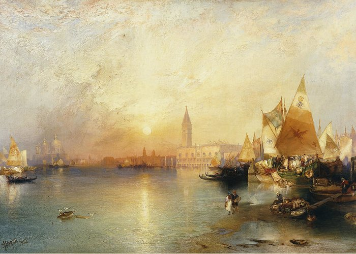 American Artist;american Painting Greeting Card featuring the painting Sunset Venice by Thomas Moran