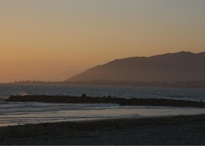Ventura Greeting Card featuring the photograph Sunset View Over The Pacific Ocean by Stacy Gold