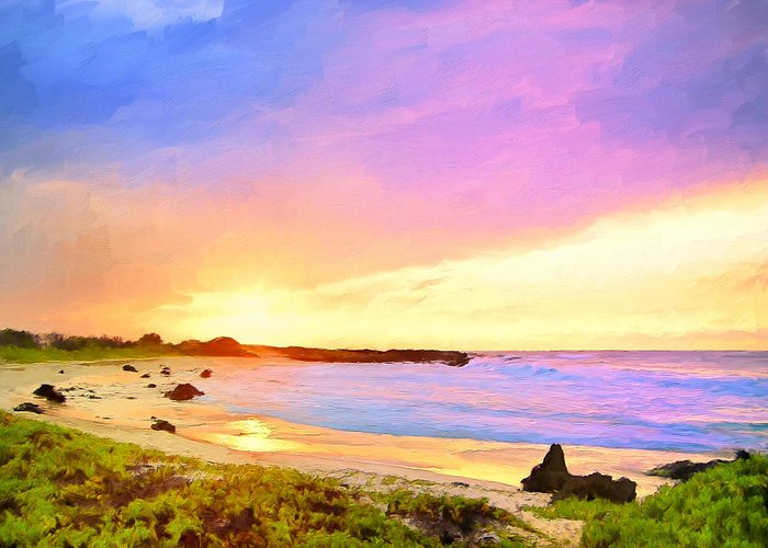 Hawaii Greeting Card featuring the painting Sunset Walk by Dominic Piperata