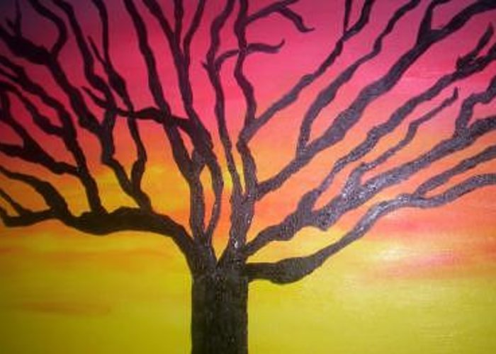 Sunset Greeting Card featuring the painting Sunset Wanderer by Becca Haney