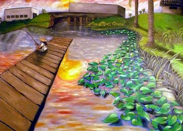 Landscape Greeting Card featuring the painting Sunset Waterlillies by Alima Newton
