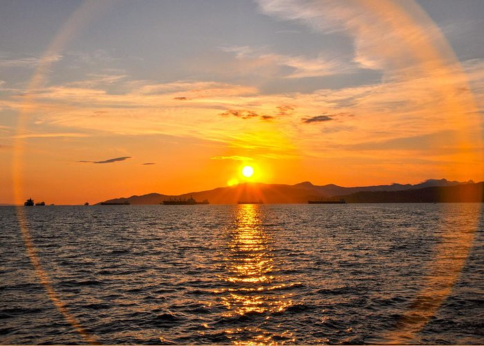 Sunset Greeting Card featuring the photograph Sunset With Halo by Caroline Reyes-Loughrey