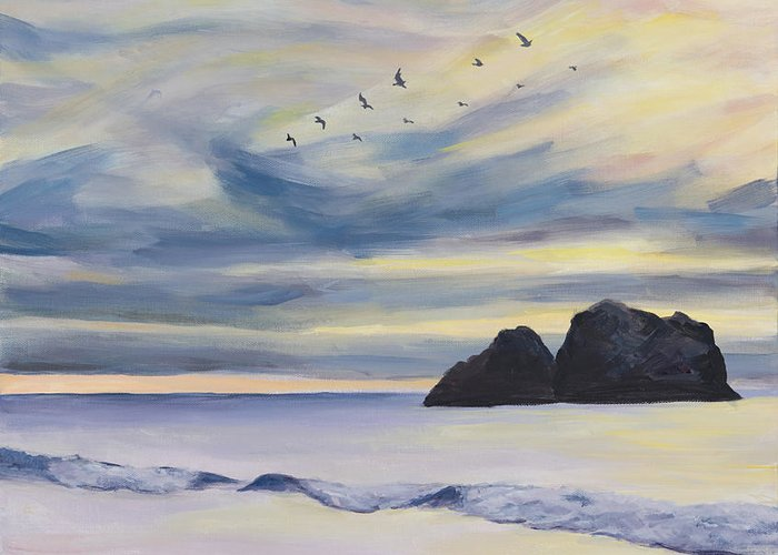 Seascape Greeting Card featuring the painting Sunset by Youngjin Hwang