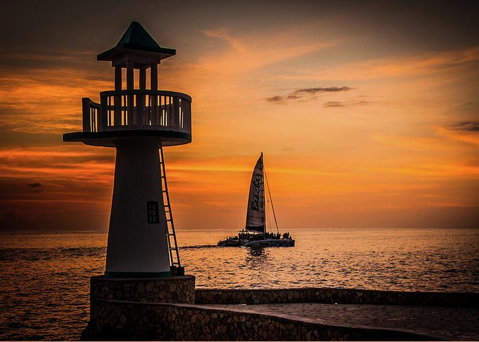Sunset Greeting Card featuring the photograph Sunsets And Sailboats by Jim Cole