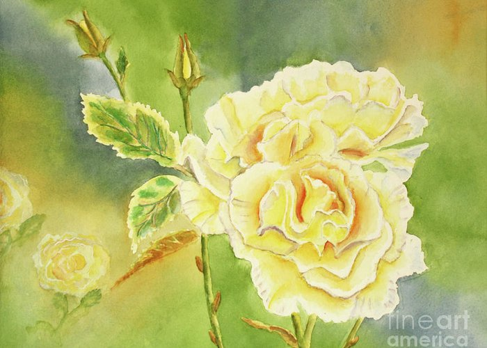 Yellow Greeting Card featuring the painting Sunshine And Yellow Roses by Kathryn Duncan
