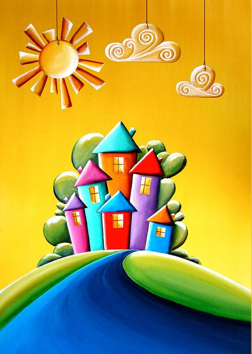 Sunny Greeting Card featuring the painting Sunshine Day by Cindy Thornton