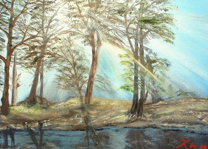 Landscape River Trees Sunshine Reflections Greeting Card featuring the painting Sunshine by Kenneth LePoidevin