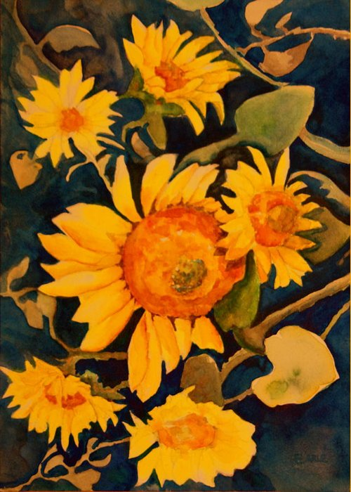 Flowers Greeting Card featuring the painting Sunshine On A Gray Day by Dan Earle