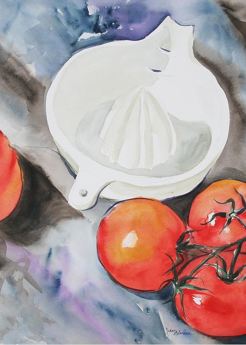 Tomatoes Greeting Card featuring the painting Sunshine On The Vine by Jean Blackmer